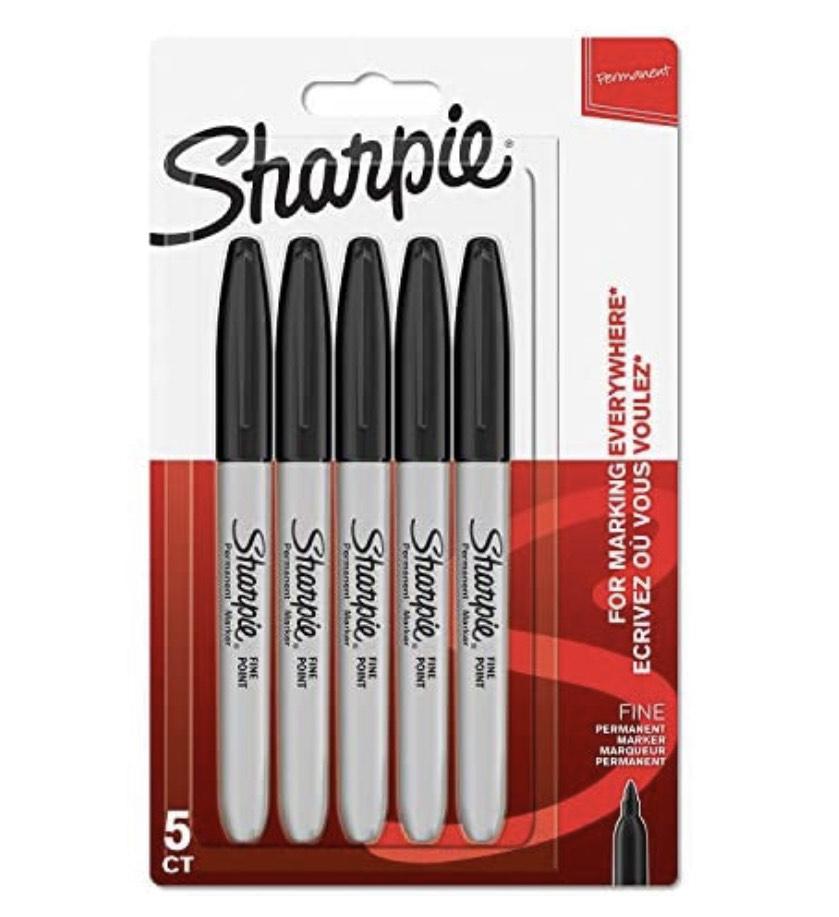 Sharpie Permanent Markers   Fine Point   Black   5 Count - £3 (+£4.49 Non-Prime) @ Amazon