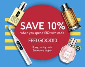 Save 10% when spending £50 with code / plus Save 20 percent on selected fragrance today only @ Boots