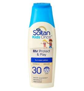 Soltan Once 8 hour play suncream 2 for £5 with code and free minions water bottle from Boots - free Click & Collect