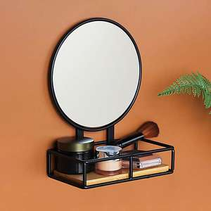 Compact Living Pedestal Mirror and Shelf now £7.50 with free click and collect from Dunelm