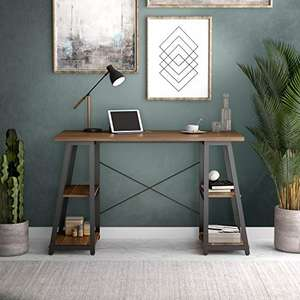 Office Hippo Home Office Desk with 4 Shelves (L130cm x D60cm) Walnut - £54.99 / White - £55.99 delivered @ Amazon
