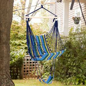 Outsunny Hammock Swing Chair Hanging Rope Striped Seat w/ Foot Rest - £8.79 Using Code @ eBay / Outsunny