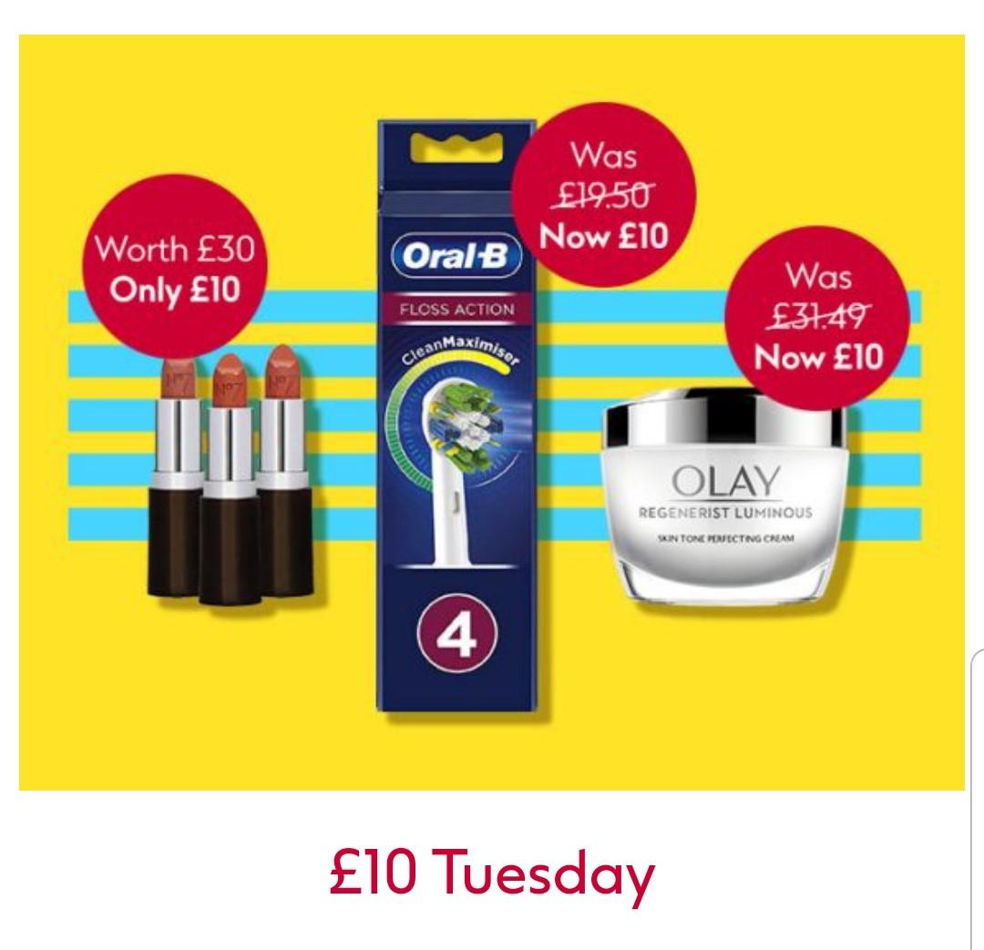 £10 Tuesday No7 Lip Trio,Eye Shadow CYO lip Bundle Olay Regenerist Mask Glow Hub ,Oral B + Free Hand Sanitiser + Free Click&Collect @ Boots