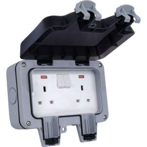 BG Twin 13A Weatherproof Switched Socket - IP66 Rated - £8.50 (free click & collect) @ Homebase