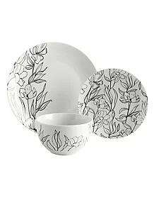 White Linear Floral Dinner Set -12 Piece - £14.00 ( with free click and collect ) @ Asda George