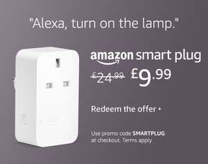 Amazon Smart Plug, works with Alexa, Certified for Humans device - £9.99 when using code @ Amazon (Selected users)