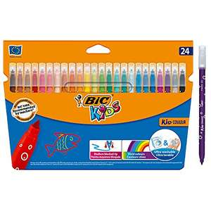 BIC Kids Kid Couleur Felt Tip Colouring Pens - Ultra Washable Assorted Colours Pack of 24 £2.30 (Prime) + £4.49 (non Prime) at Amazon