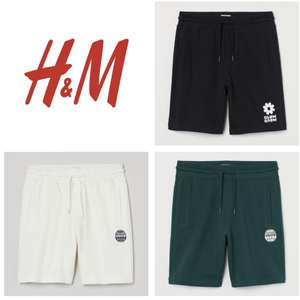 Regular Fit Cotton Logo Sweatshirt Shorts (S - XXL / White & Green £6 / Black £7 ) + Free Delivery For Members @ H&M