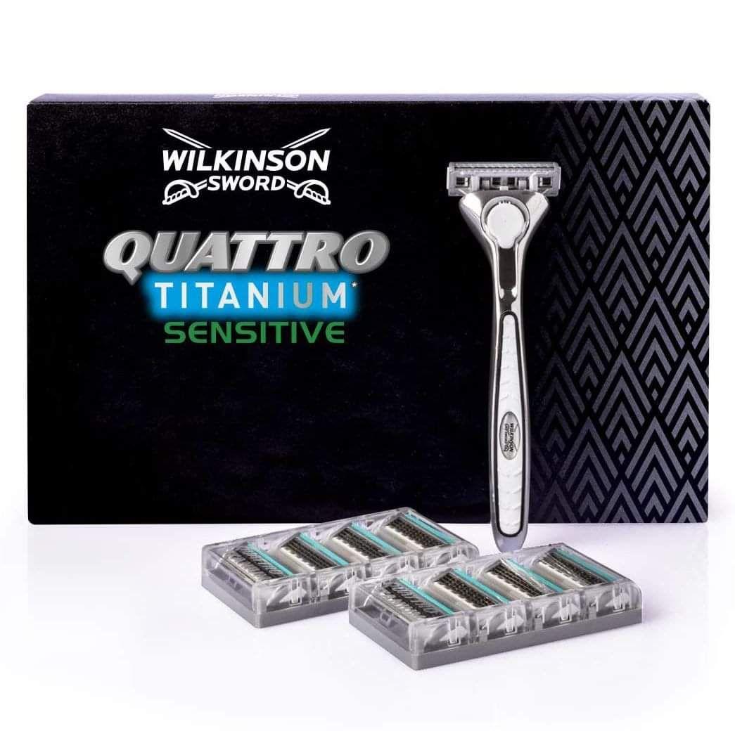 Wilkinson Sword Quattro Titanium Sensative Razor + 12 Blades Pack is £10.49 (£8.39 If It's your First Order) Delivered @ Wilkinson Sword