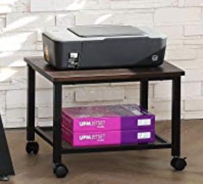 Printer Stand Wood Metal Mesh Rustic Brown with Wheels / Mini wheeled Coffee table/Side table - £15.99 (+£4.49 NP) - fitueyes-eu / FBA