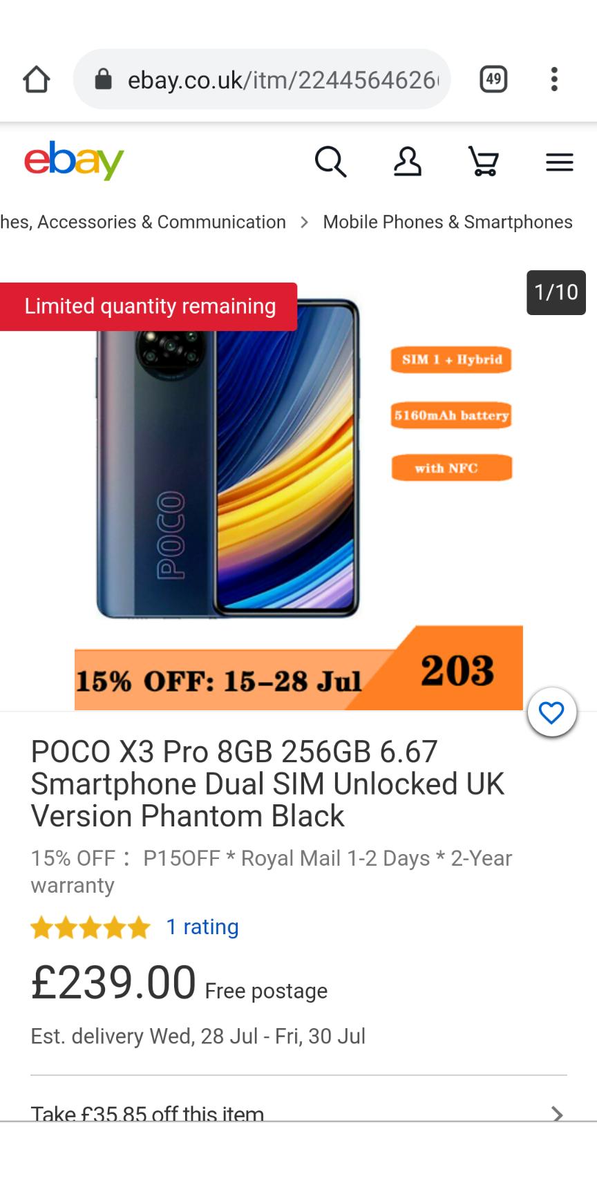 POCO X3 Pro 8GB 256GB 6.67 Smartphone Dual SIM Unlocked UK Version £203.15 at ebay xiaomi-uk OR £189 on xiaomi UK site (LINK IN DESCRIPTION)