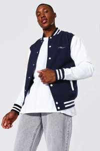 Man Signature Jersey Varsity Bomber Jacket Now £12 Free Delivery @ Boohooman