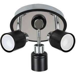 3 Way Round Plate Ceiling Spotlight - Black - £9.99 Delivered @ Manomano