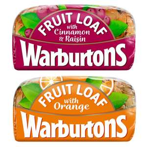 Warburtons Fruit Loaf With Cinnamon & Raisin 400g or Fruit Loaf With Orange 400g - £1 (Clubcard price) @ Tesco