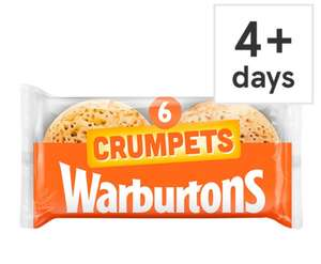 Warburtons Crumpets 6 Pack 69p Clubcard price @ Tesco