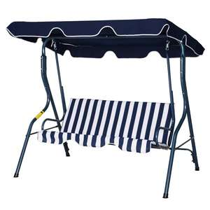 Outsunny Steel 3-Seater Swing Chair with Canopy Blue £68.73 delivered with code @ Aosom