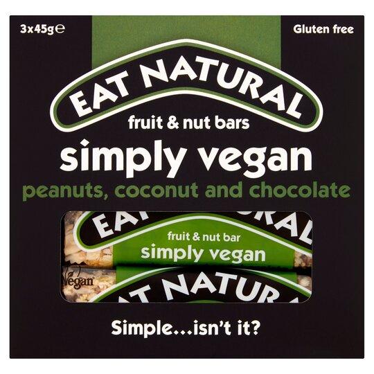 Eat Natural Simply Vegan Bars 3 X 45G (Clubcard Price) £1.50 @ Tesco