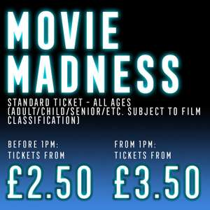 Movie Madness - tickets from £2.50 (before 1pm)or £3.50 (after 1pm) plus 60p booking fee at Reel Cinemas