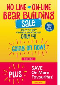 Build a Bear Online Sale - Bears From £4 (eg Birthday Bear) - £3.99 Delivery (Bonus Club Exclusive Members Only) @ Build-A-Bear Workshop