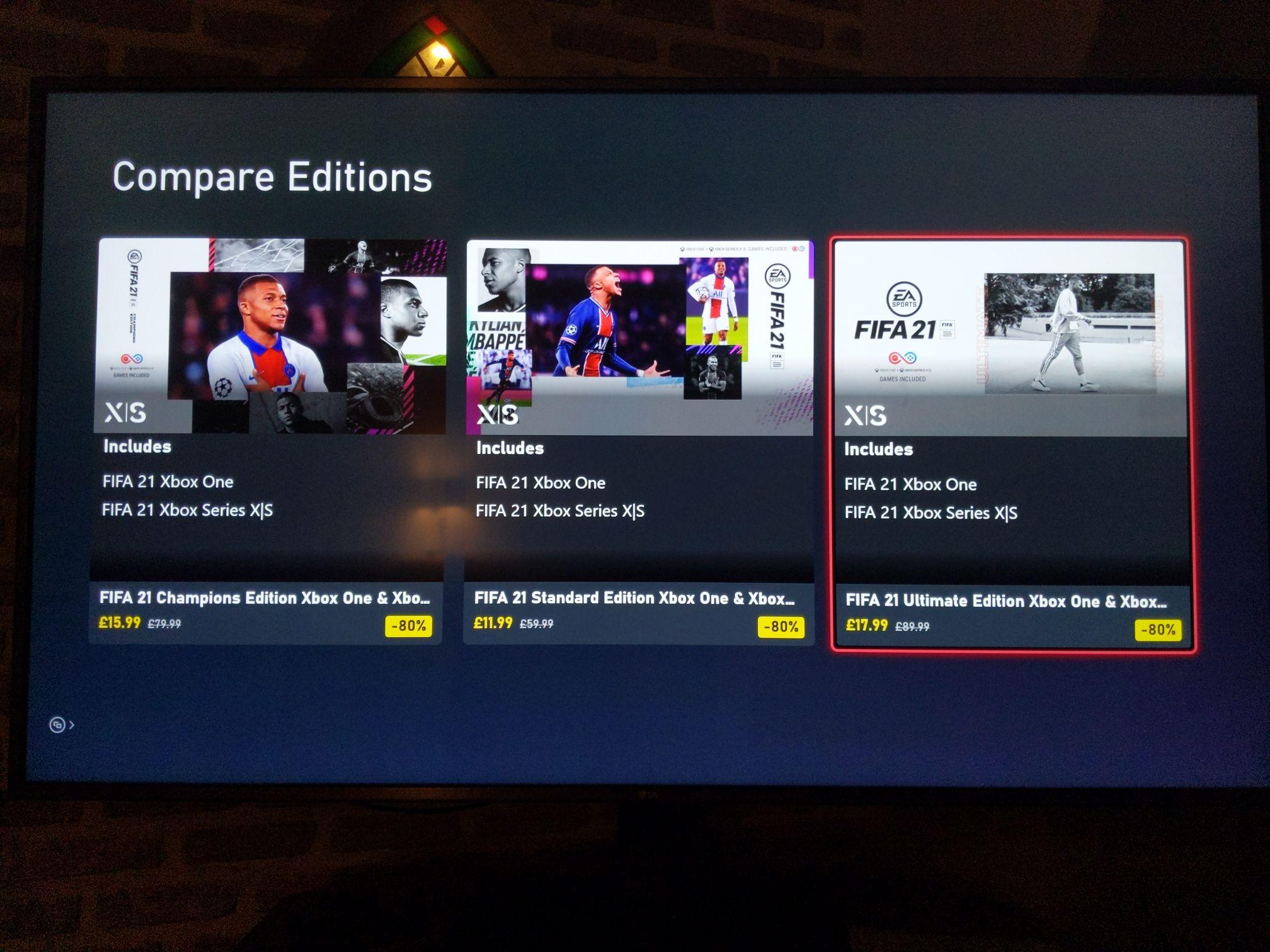 FIFA 21 Ultimate Edition For Xbox : Champions Edition - £15.99 / Standard Edi - £11.99 f/ Ultimate Edi - £17.99 @ Xbox Marketplace