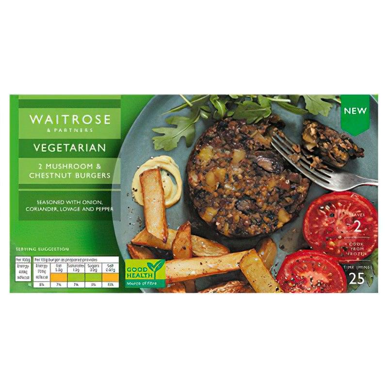 Waitrose Vegetarian 2 Mushroom & Chestnut or Spicy Chilli Burgers 227g £1.25 / 4 Vegetable Cripsbakes 454g 95p @ Waitrose & Partners