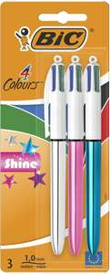 Bic 4 Colours Shine Ballpoint Pens, Pack of 3 with Medium Point (1.0 mm) and Colorful Metallic Barrels£2.50 (£4.49 p&p non prime) @ Amazon