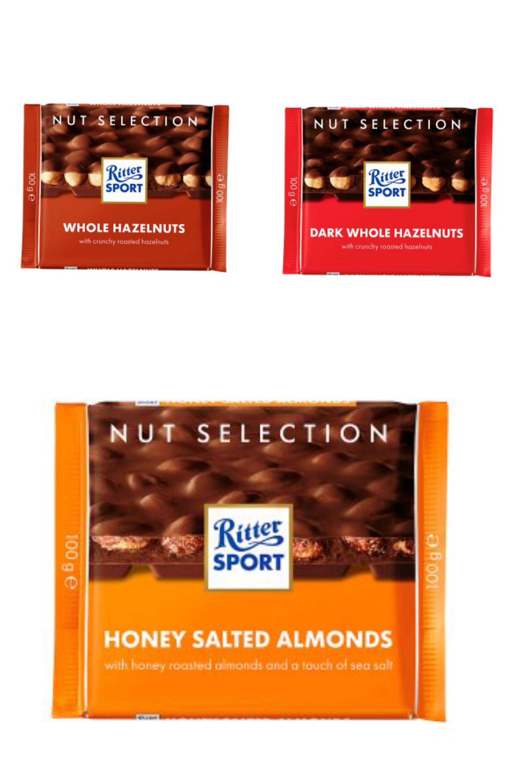 Ritter Sport Whole Hazelnuts/Dark whole hazelnuts/Salted almonds 100g - £1 @ Waitrose