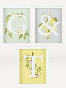 Gin & Tonic Framed Print - Set of 3 , £2.80 + Free Click & Collect @ George / Asda