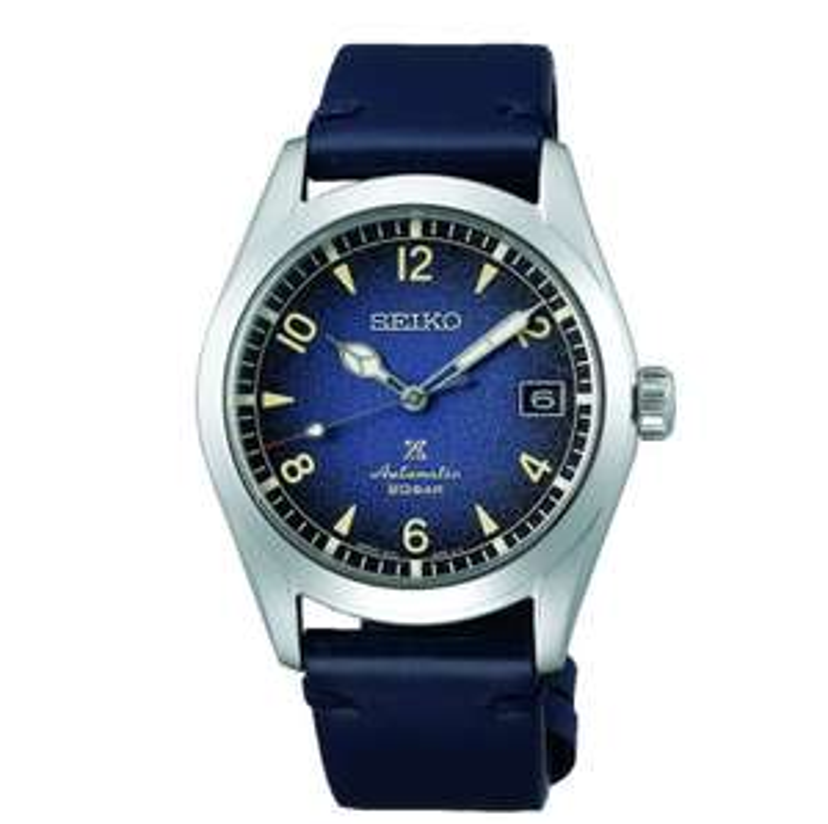 "SEIKO PROSPEX Men's Blue Leather ""Alpinist"" Automatic Watch SPB157J1 £480 Hillier Jewellers"