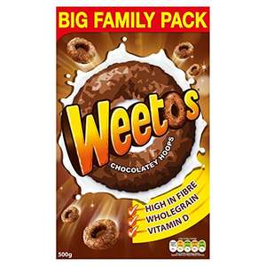 Weetabix Weetos Chocolatey Hoops, 500 g - £2 delivered (Non-Prime + £4.99) @ Amazon (or £1.90 with Subscribe and Save)