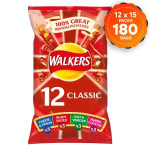 180 Bags of Walkers Crisps Mixed Variety 15 Packs of 12 x 25g (10p a bag) - Short Dated 21/8/21 - £19.49 delivered @ Walkers / eBay