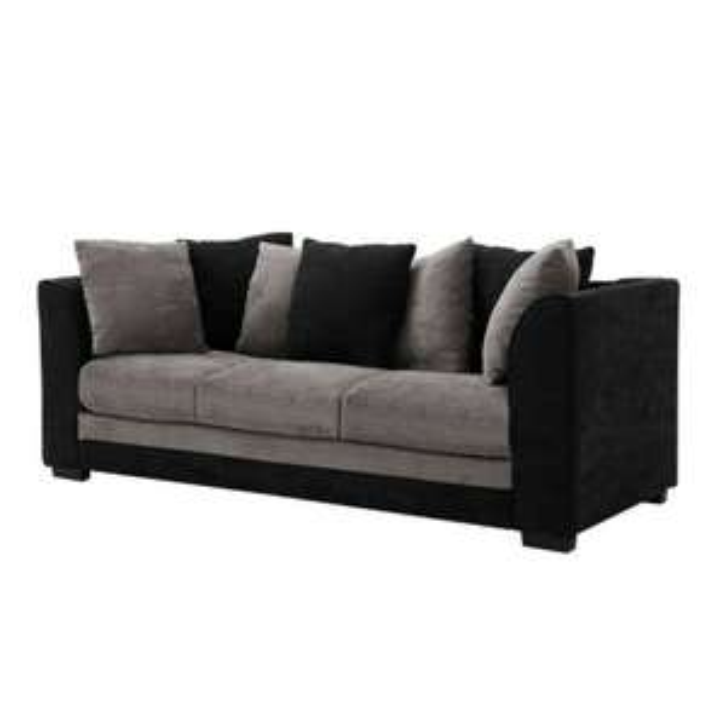 3 Seater Black Grey Fabric Sofa with Pillows £149.99 delivered (UK Mainland) @ sameaswilko / ebay