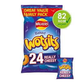 Walkers Wotsits Really Cheesy Multipack Snacks 24x16.5g - 2 for £6 48x16.5g at Iceland