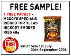Free Sample of Crisps - Walkers Spicy Chilli or McCoys Hickory smoked