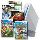 Wii Console + Wii Sports +Mario Party 8+ Super Paper Mario + Rayman Raving Rabbids+ Dragon Blade Wra