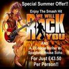 """""""We will rock you"""" and 2 course dinner at Theatre Breaks  £43.50 pp"""