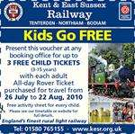 Free Child Tickets at the Kent & East Sussex Railway this Summer