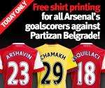 Arsenal Shirt Printing with Arshavin,Chamakh,Squillaci for FREE Today!! @ onlinestore.arsenal.com