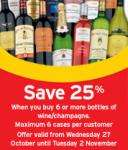 Buy 6 Save 25% on all Wine & Champagne at Sainsbury's (Starting Wednesday)