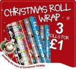 Three rolls of 3 metre christmas gift wrap for £1@ Card Factory