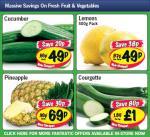 Lidl - Courgette £1per kg/ Pineapple 69p/ Cucumber 49p/ Lemons 500g 49p