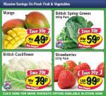Lidl - Cauliflower 79p/ Strawberries 227g 99p/ Mango 49p/ Spring Greens 500g 59p
