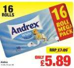 Better deal than 2 for 7 Andrex toilet rolls, 16 roll mega pact of Andrex toilet rolls only £5.89,  @Netto starts Monday