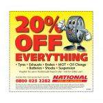 20% off everything at National Tyres And Autocare Portsmouth only