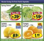 Lidl - Spring onions 29p/ Iceberg lettuce 59p/ Oranges 1.5kg + 500g £1.49/ Lemons 500g + 500g 87p