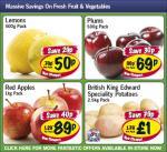 Lidl - Lemons 500g 50p/ Plums 500g 69p/ Red Apples 1kg 89p/ King Edward potatoes 2.5kg £1
