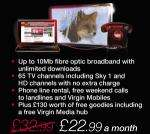 Virgin Media Partner Deal £22.99pm for Internet, Tv, Telephone