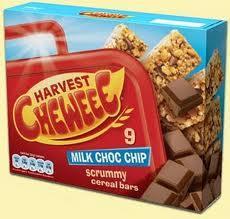 Harvest Chewee Bars White & Milk Choc chip 9 bar packs down to £1 at Tesco