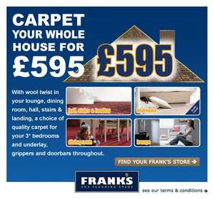 Carpet your whole house for £595 (Available in the North East) @ frankstheflooringstore.com