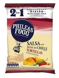 Phileas Fogg, Salsa with Mexican Chiili flavour Tortillas 140g 39p @ Home Bargains